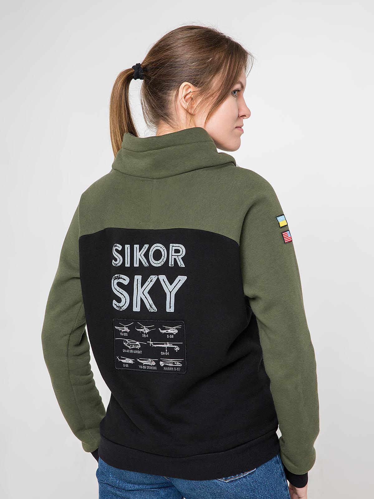 Жіночий Світшот Sikorsky. Колір хакі.  Не варто переживати за універсальний розмір.