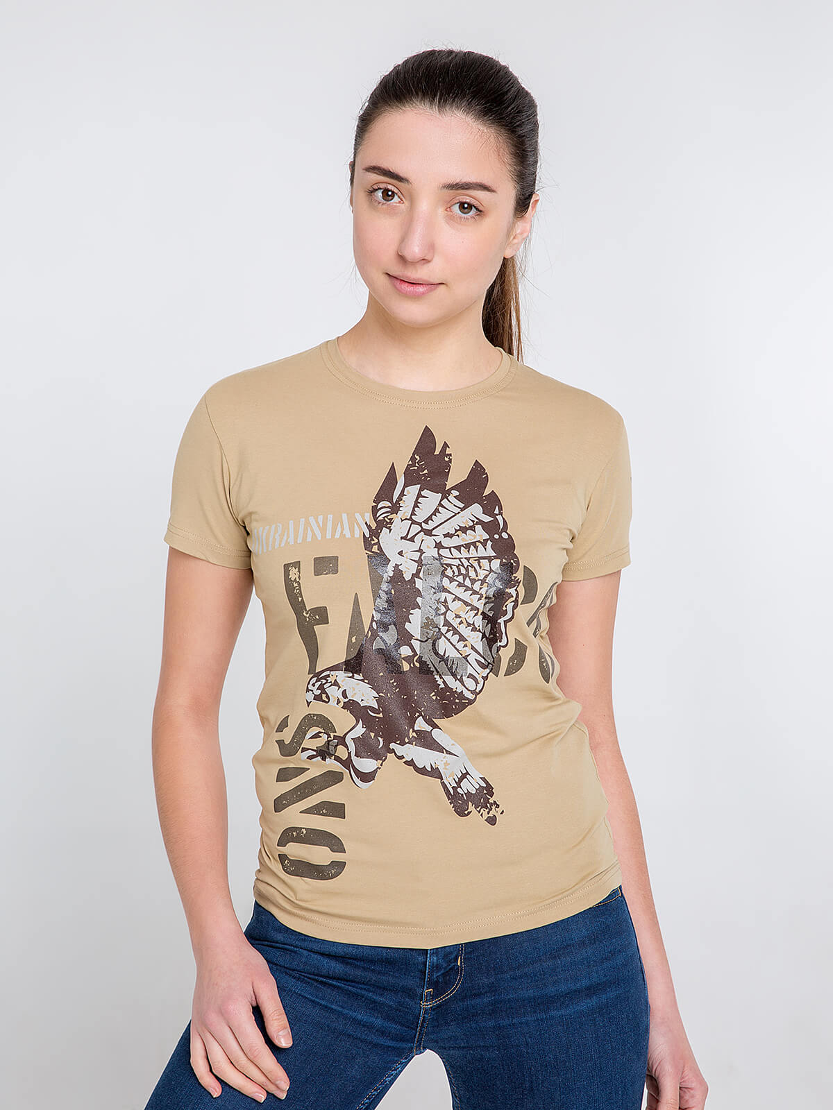 Women's T-Shirt Ukrainian Falcons. Color sand. Material: 95% cotton, 5% spandex.