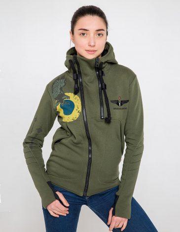 Women's Hoodie Ukrainian Falcons. Color khaki. Three-cord thread fabric: 77% cotton, 23% polyester.