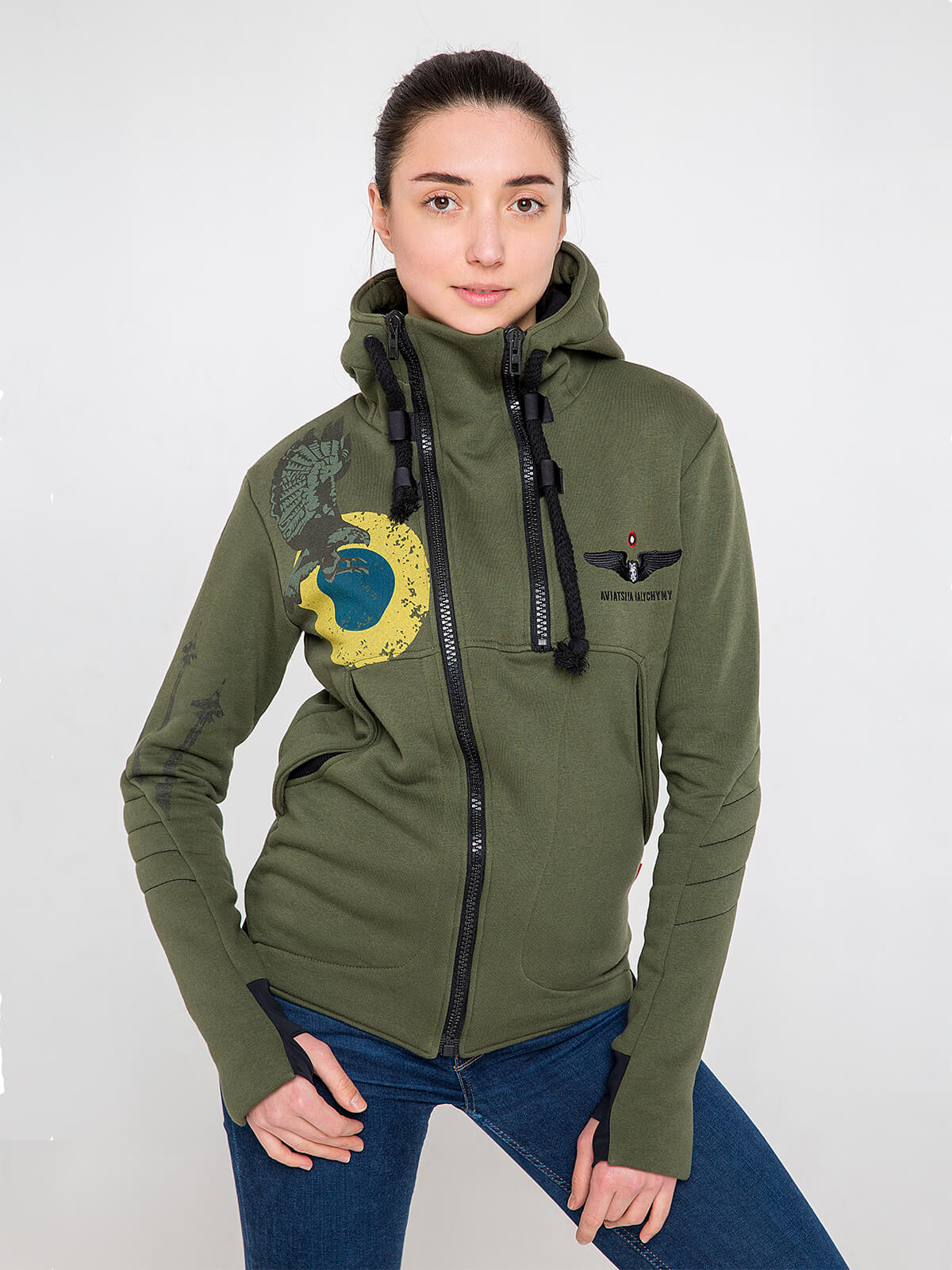 Women's Hoodie Ukrainian Falcons. Color khaki. Three-cord thread fabric: 77% cotton, 23% polyester.