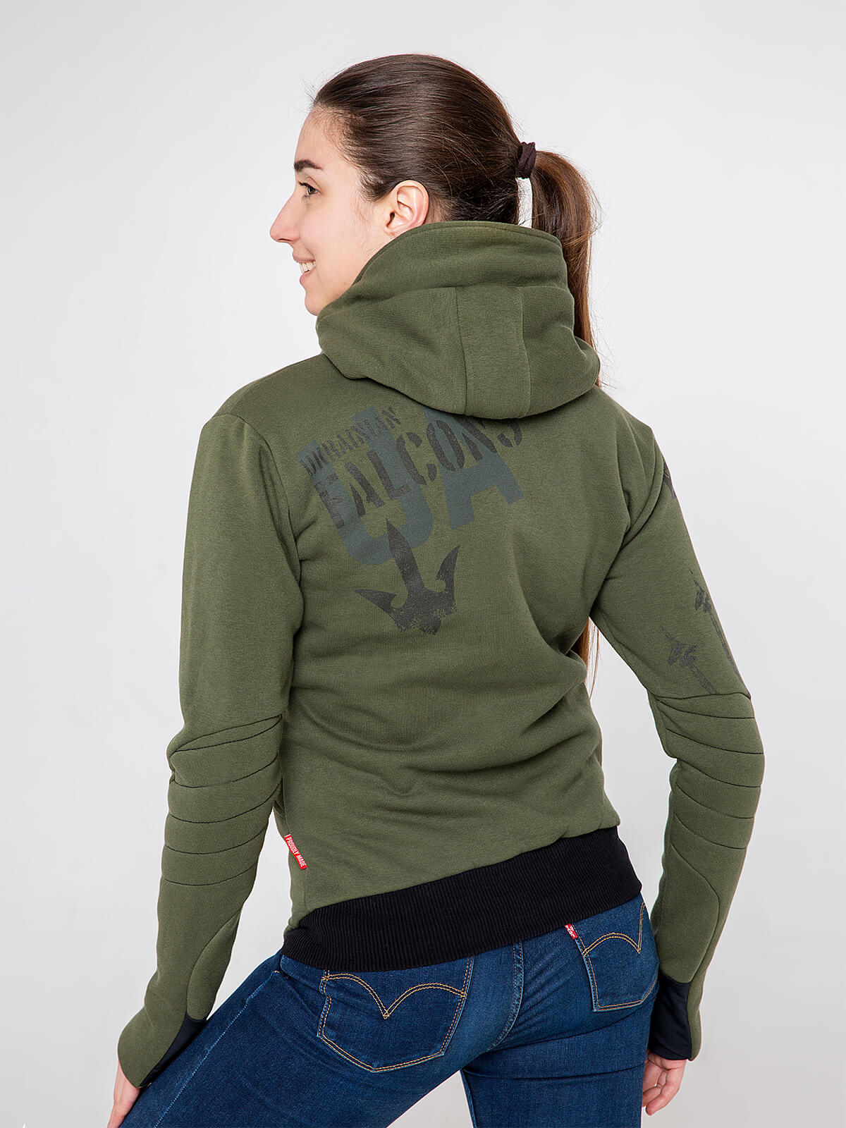 Women's Hoodie Ukrainian Falcons. Color khaki.  Technique of prints applied: silkscreen printing.