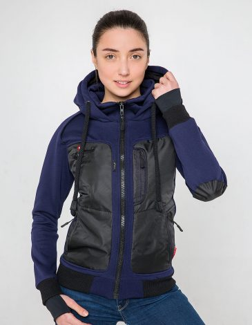 Women's Hoodie Syla. Color navy blue.  It looks great on a female figure! Material of the hoodie – three-cord thread fabric: 77% cotton, 23% polyester.