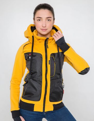 Women's Hoodie Syla. Color yellow.  It looks great on a female figure! Material of the hoodie – three-cord thread fabric: 77% cotton, 23% polyester.