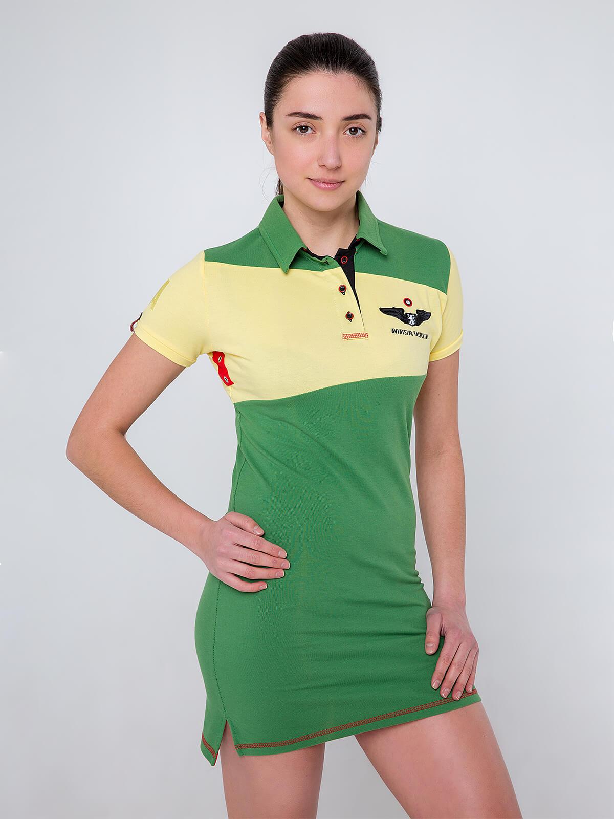 Women's Dress-Polo Shirt Darusia. Color yellow. Pique fabric: 100% cotton.