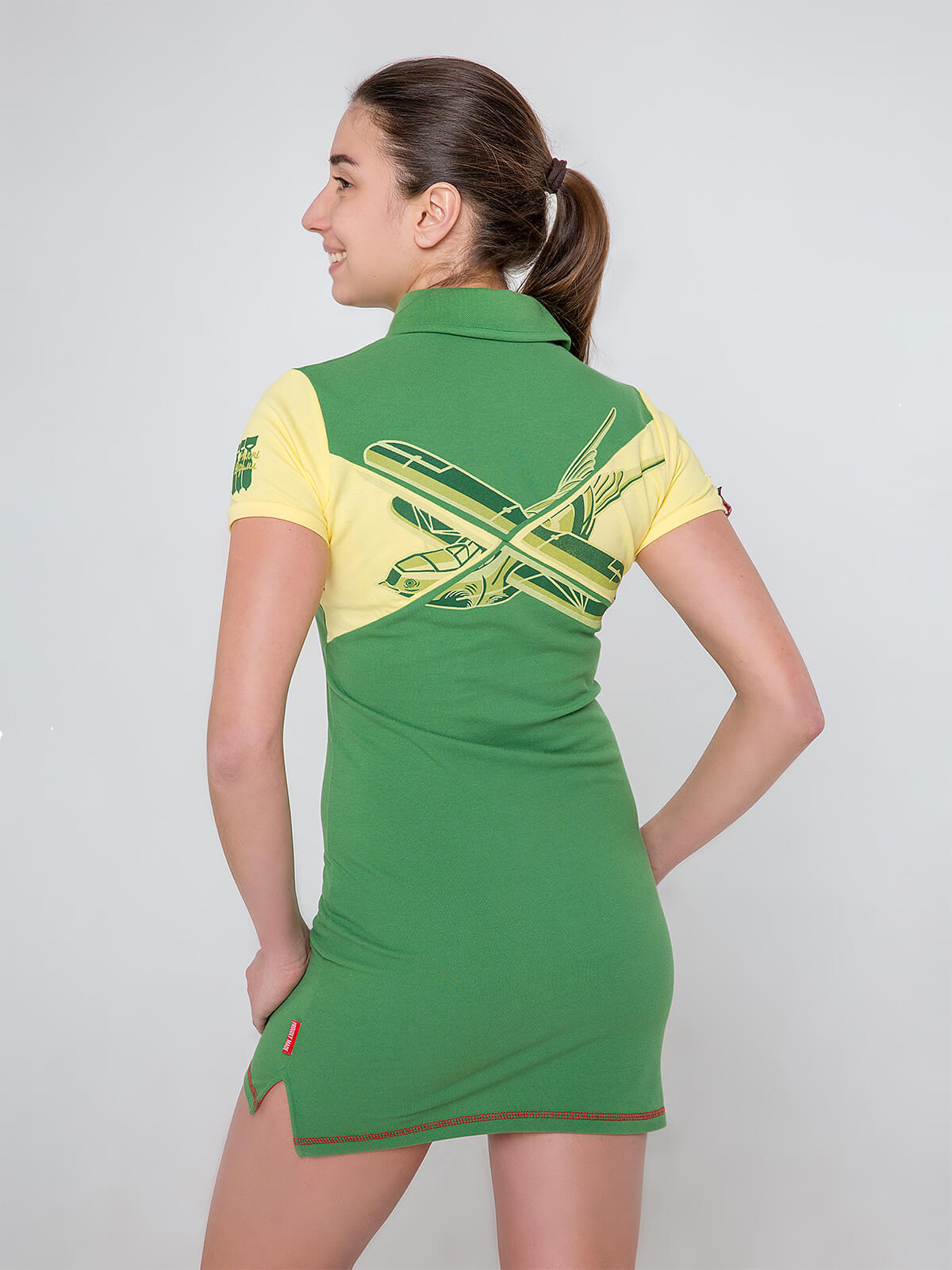 Women's Dress-Polo Shirt Darusia. Color yellow.  Technique of prints applied: embroidery, silkscreen printing.