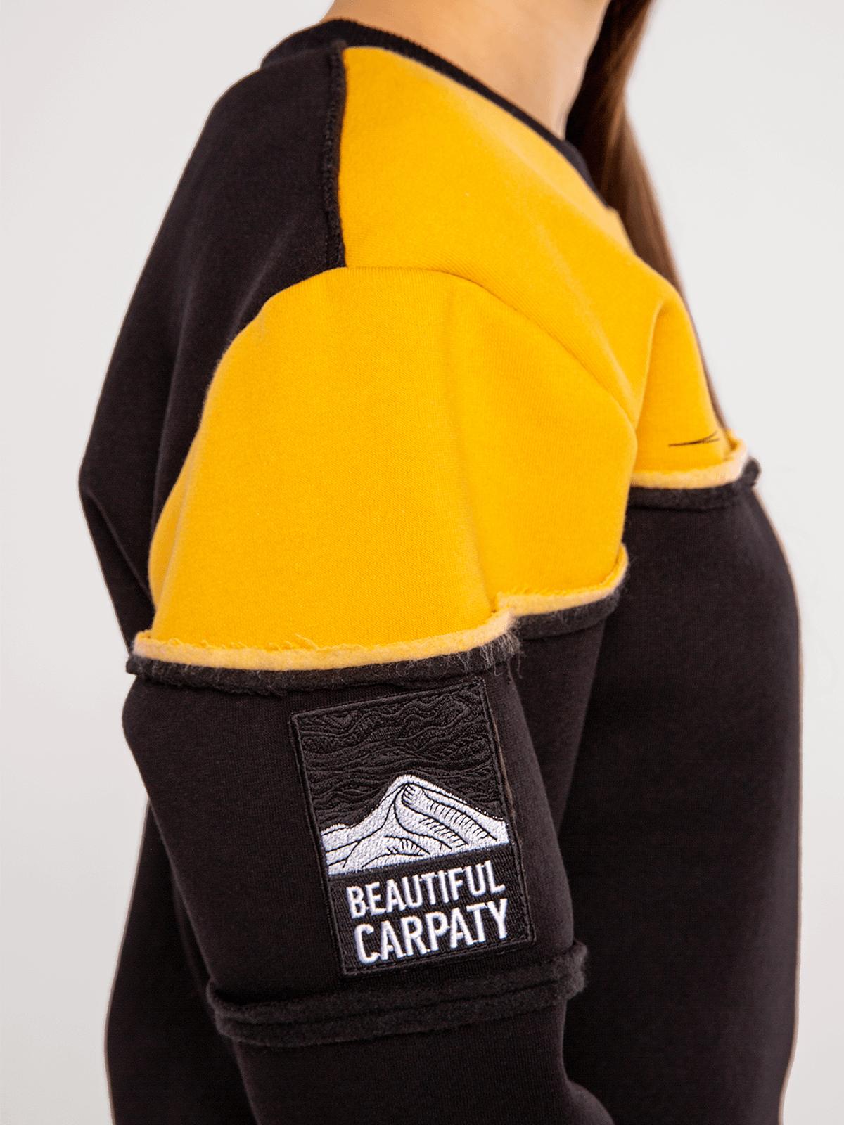 Чоловічий Світшот Мармароси. Колір жовтий.  Технологія нанесення зображень: шовкодрук, вишивка, шеврони.