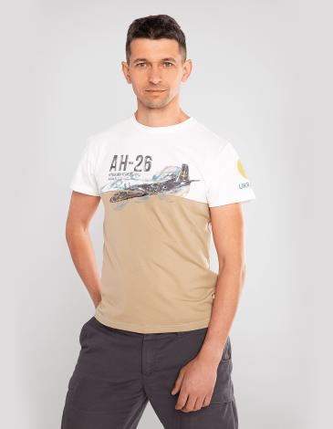 Men's T-Shirt Аn-26. Color sand. Material: 95% cotton, 5% spandex.