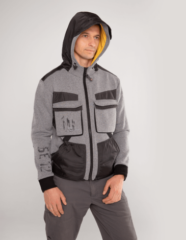 Men's Hoodie 10 Mab. Color gray. Three-cord thread fabric: 77% cotton, 23% polyester.