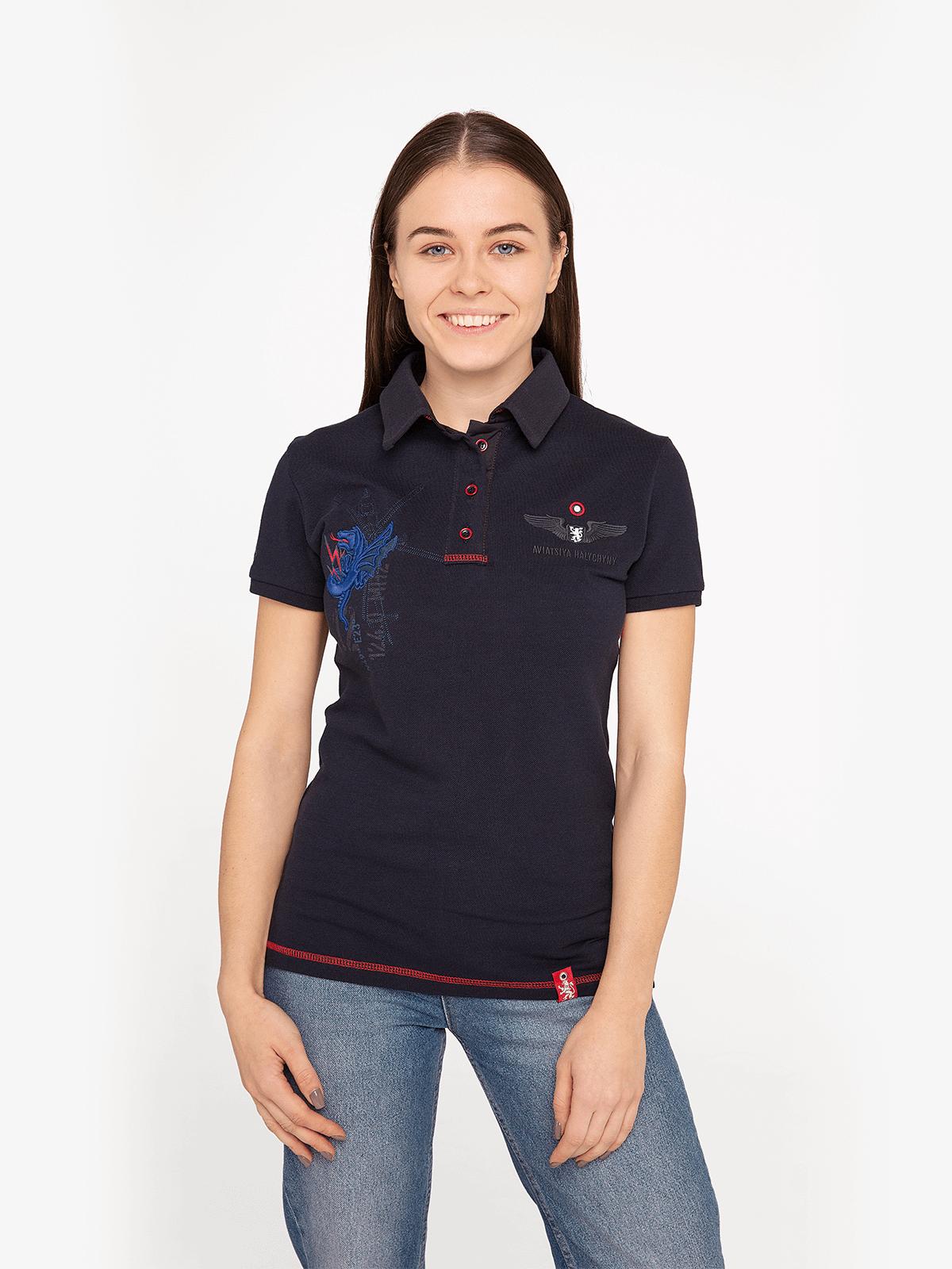 Women's Polo Shirt 12 Brigade (Kalyniv). Color dark blue. Pique fabric: 100% cotton.