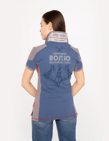 Women's Polo Shirt 10 Brigade. Color denim.  Technique of prints applied: embroidery, silkscreen printing.