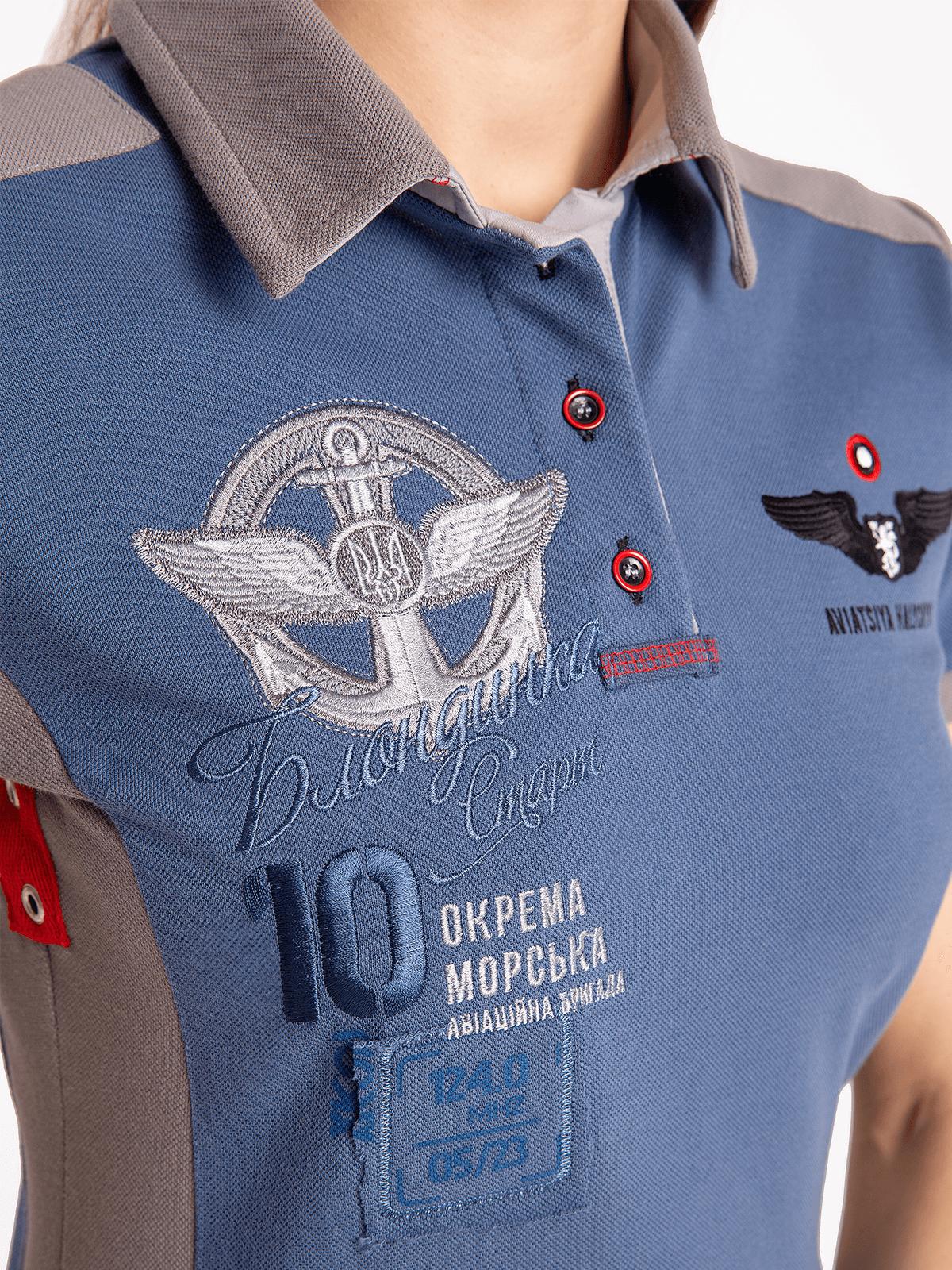 Women's Polo Shirt 10 Brigade. Color denim.  Height of the model: 180 cm.