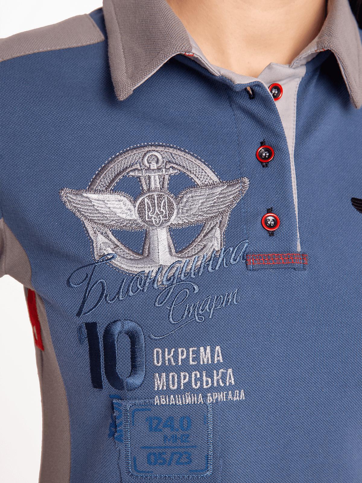 Men's Polo Shirt 10 Brigade. Color denim.  Height of the model: 180 cm.
