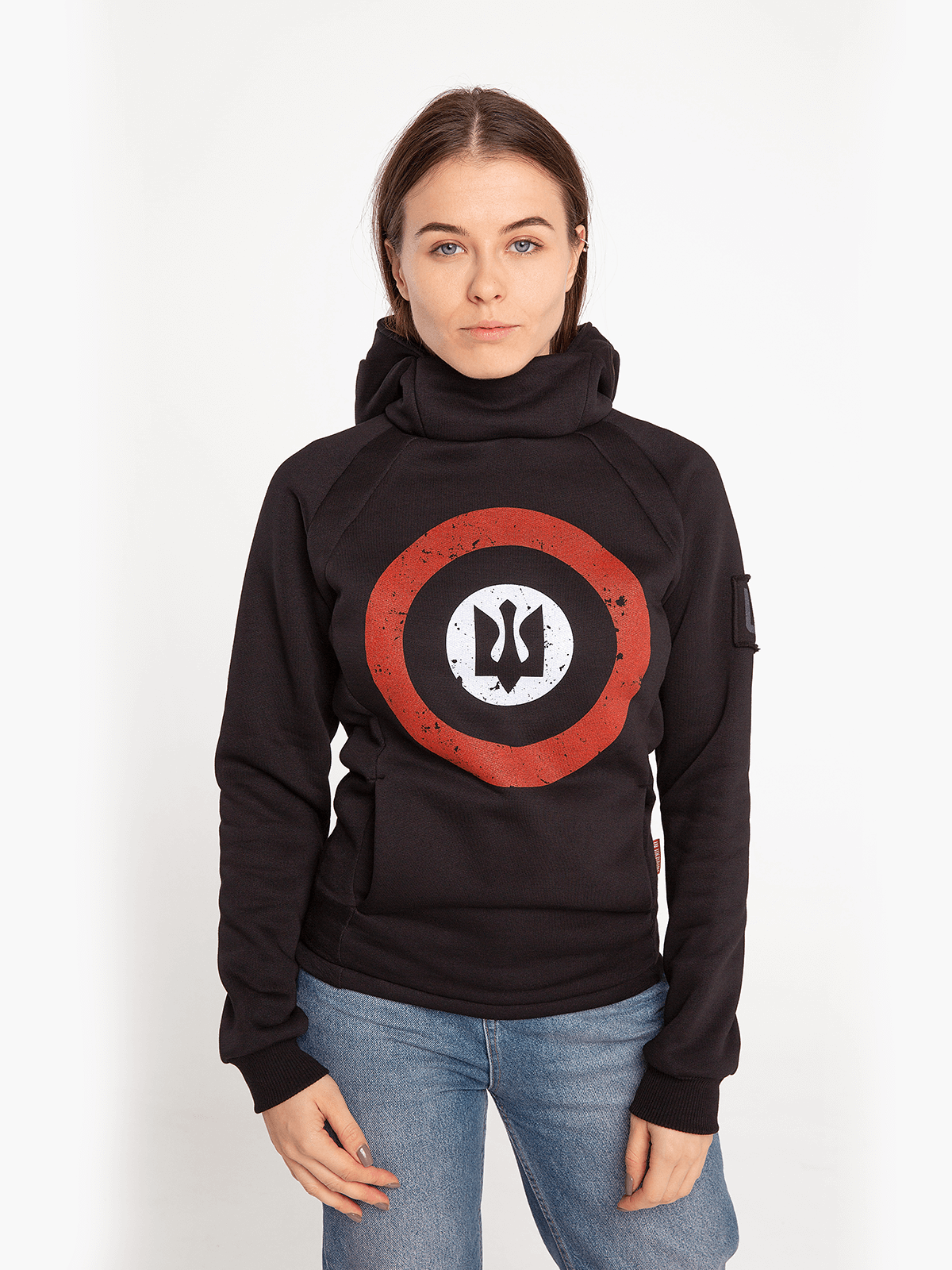 Women's Hoodie Roundel. Color black. Unisex hoodie (men's sizes).