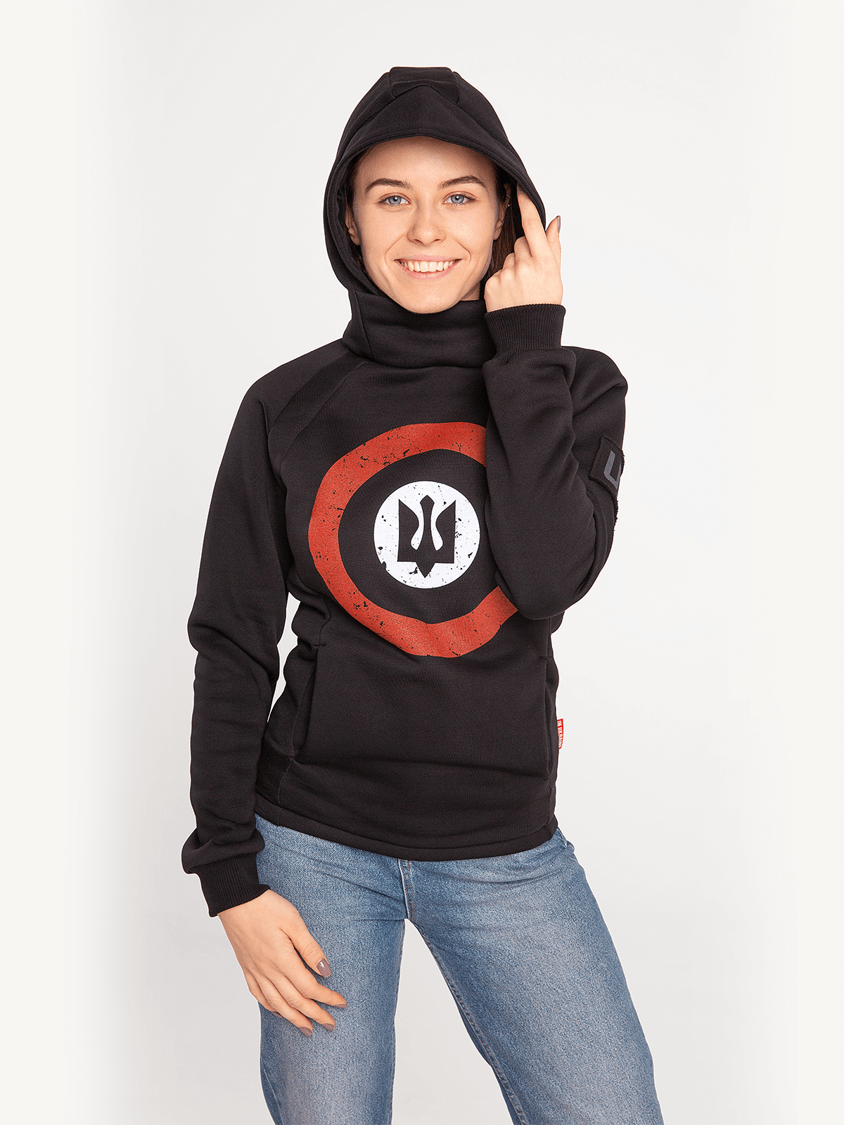 Women's Hoodie Roundel. Color black.  It looks great on a female figure! Three-cord thread fabric: 77% cotton, 23% polyester.