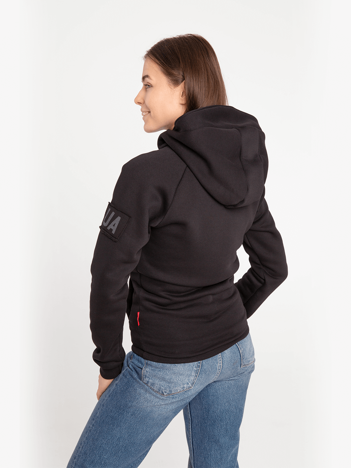 Women's Hoodie Roundel. Color black.  Don't worry about the universal size.