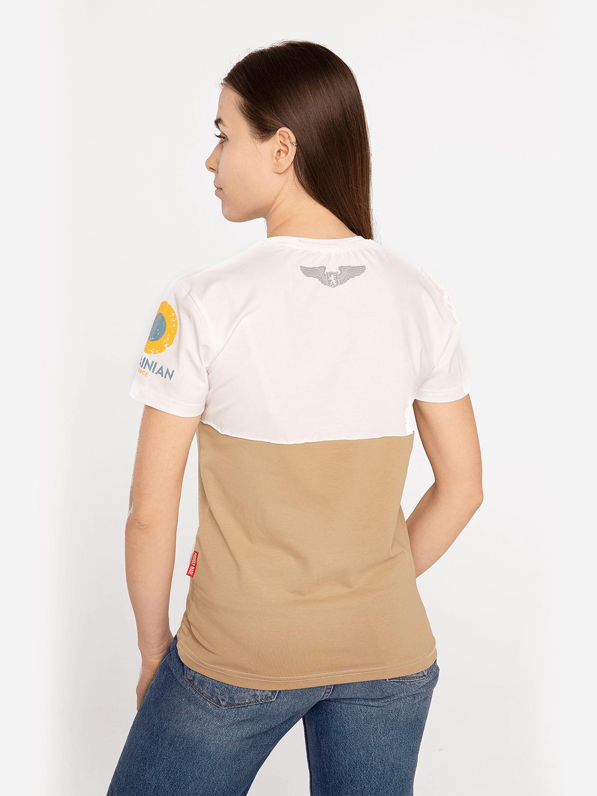 Women's T-Shirt Аn-26. Color sand.  Technique of prints applied: silkscreen printing.