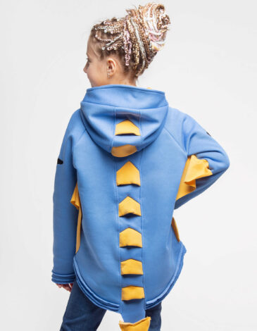 Kids Hoodie Dragon. Color sky blue. Hoodie: unisex, well suited for both boys and girls.
