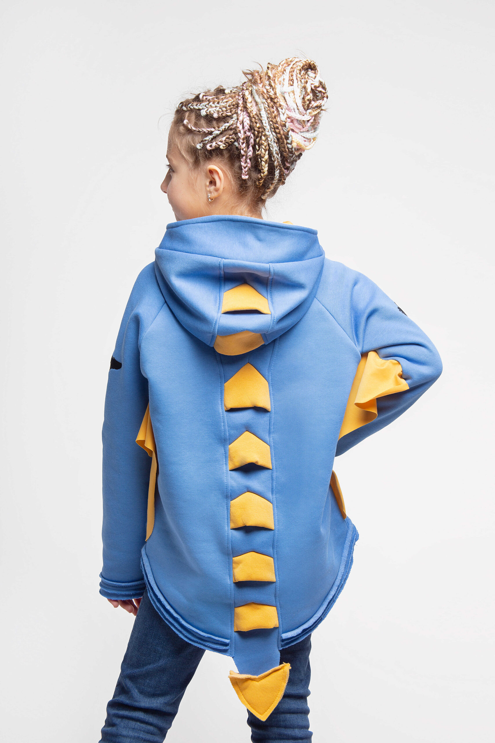 Kids Hoodie Dragon. Color sky blue.  Material of the hoodie – three-cord thread fabric: 77% cotton, 23% polyester.