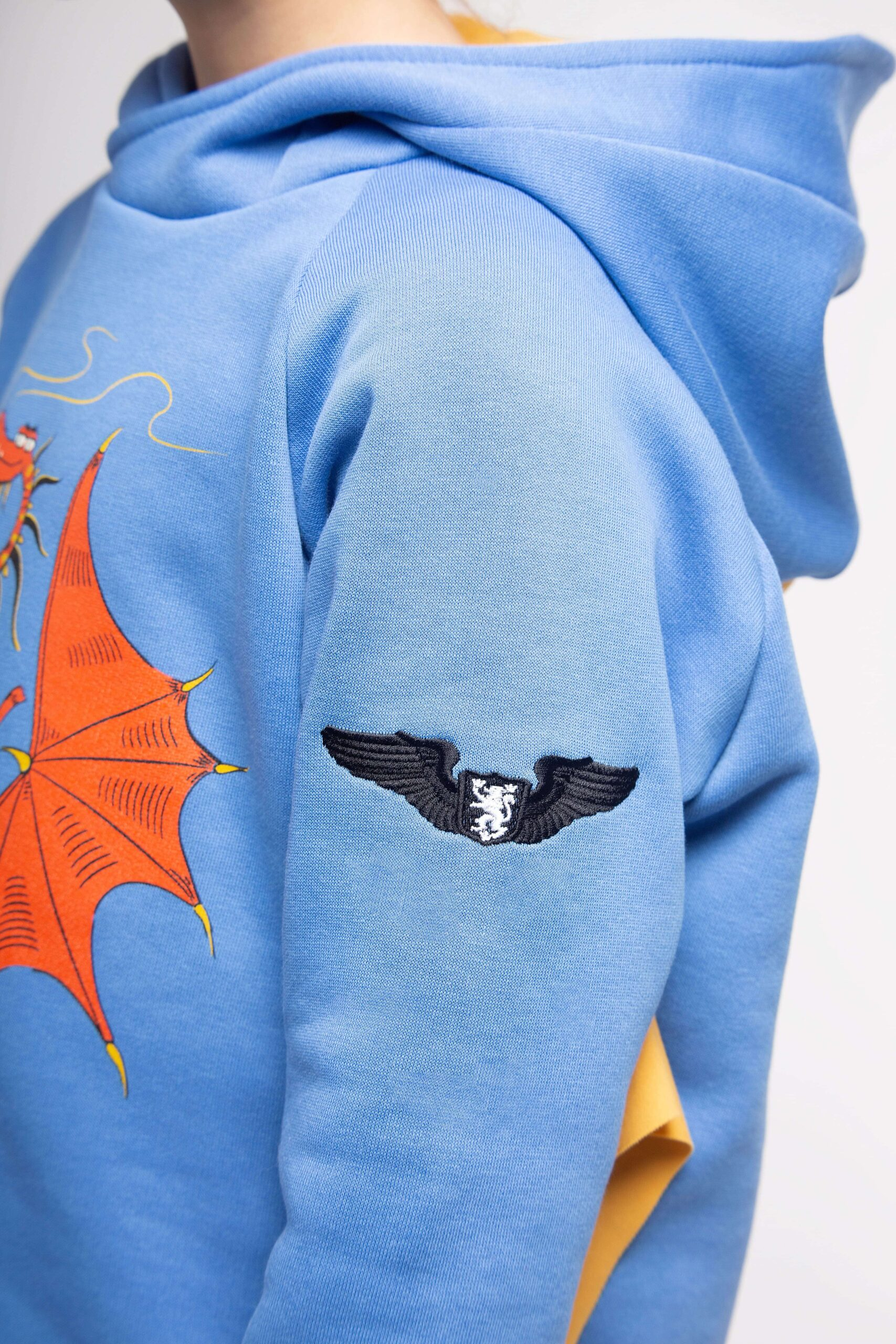 Kids Hoodie Dragon. Color sky blue. 5.