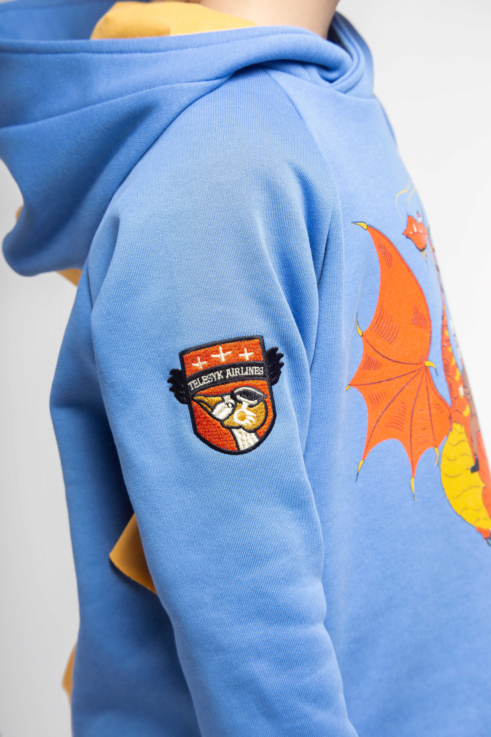 Kids Hoodie Dragon. Color sky blue. 4.