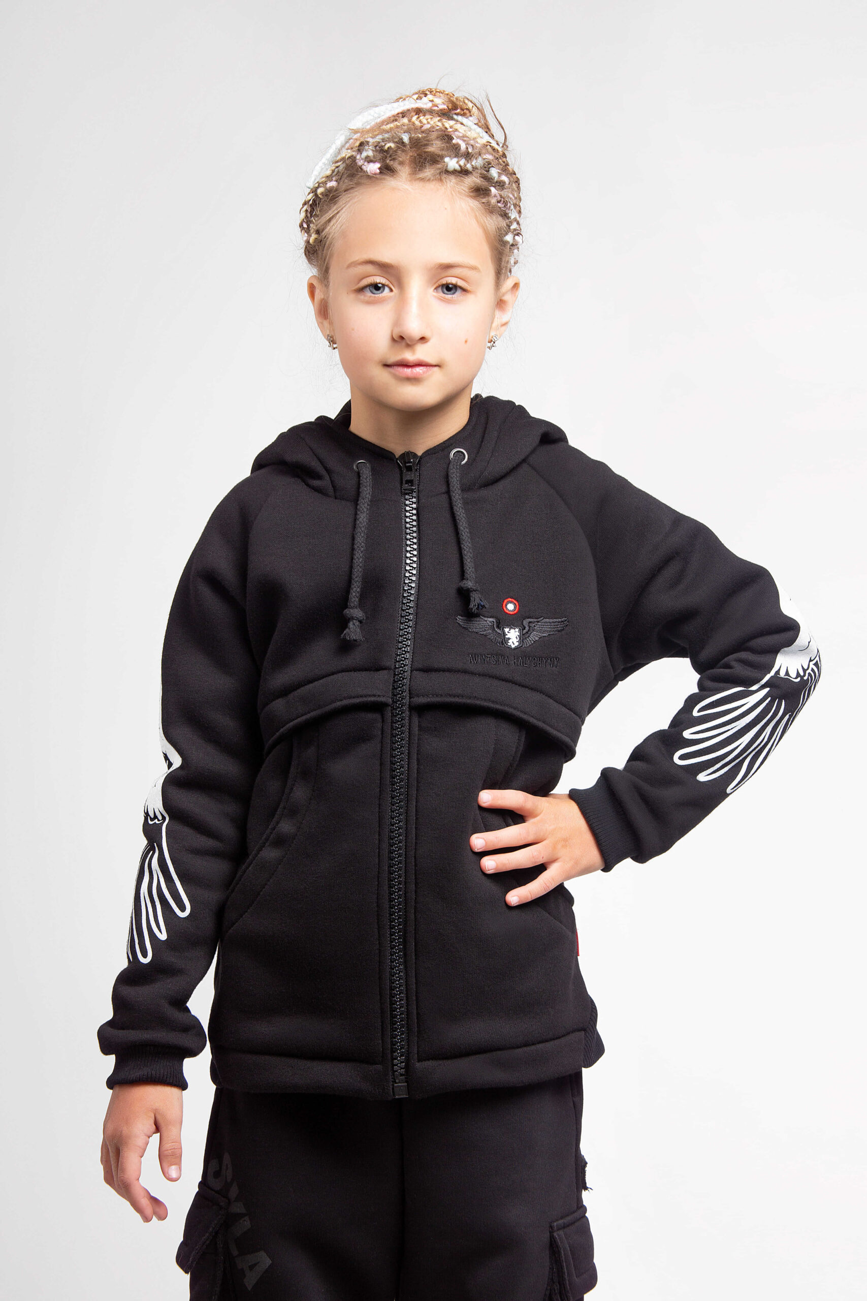 Kids Hoodie Stork. Color black. Hoodie: unisex, well suited for both boys and girls.
