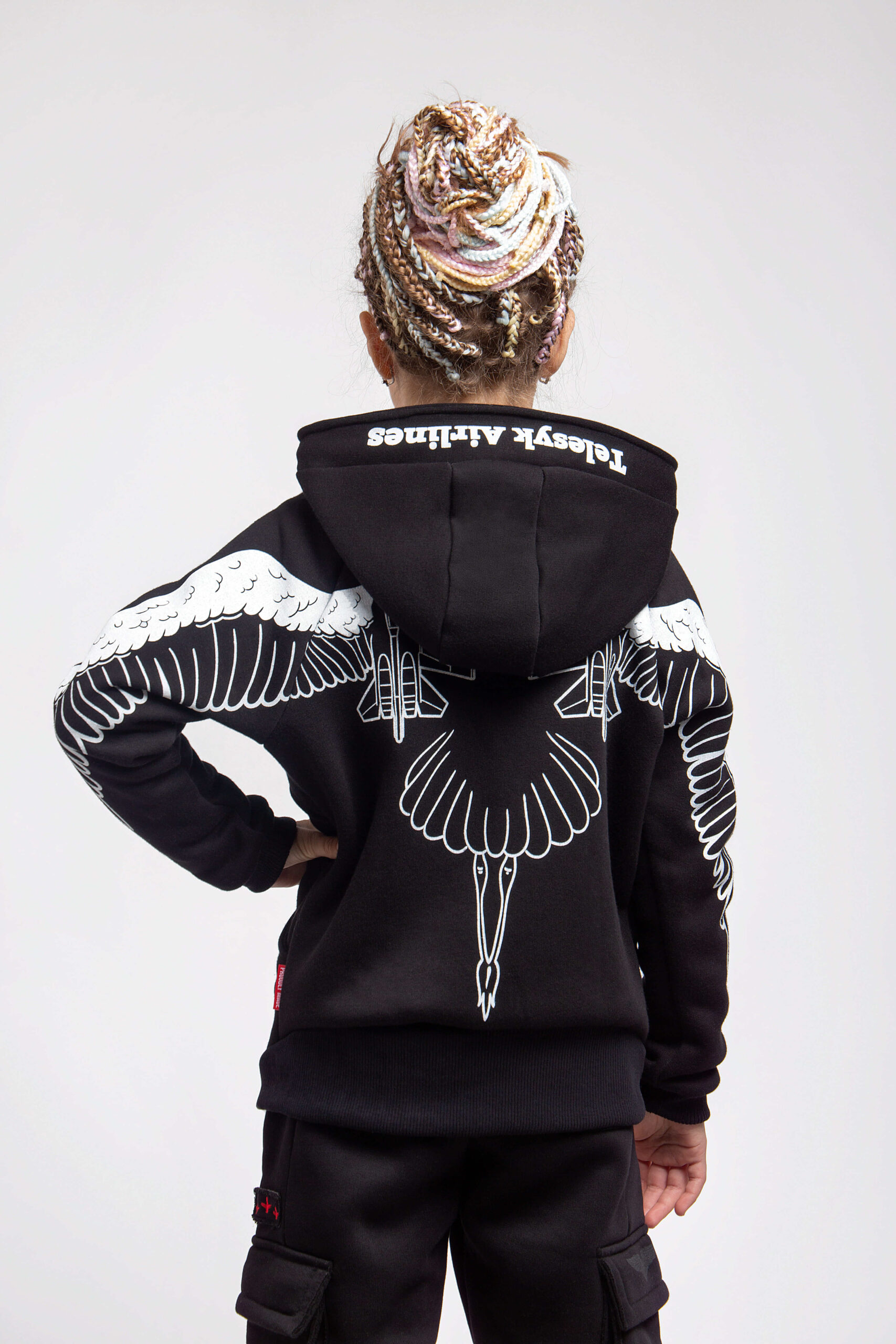 Kids Hoodie Stork. Color black.  Material of the hoodie – three-cord thread fabric: 77% cotton, 23% polyester.