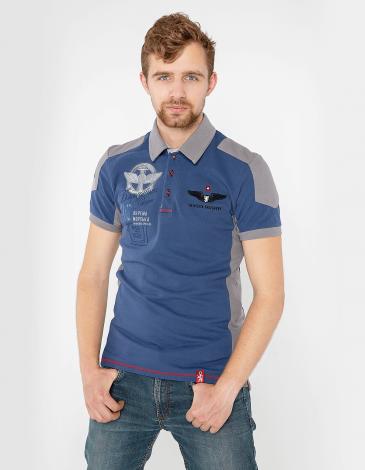 Men's Polo Shirt 10 Brigade. Color denim.  Technique of prints applied: embroidery, silkscreen printing.