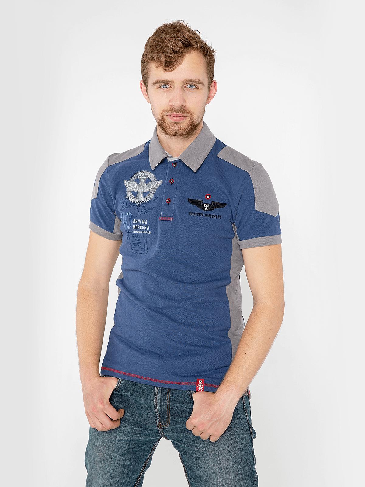 Men's Polo Shirt 10 Brigade. Color denim. Pique fabric: 100% cotton.