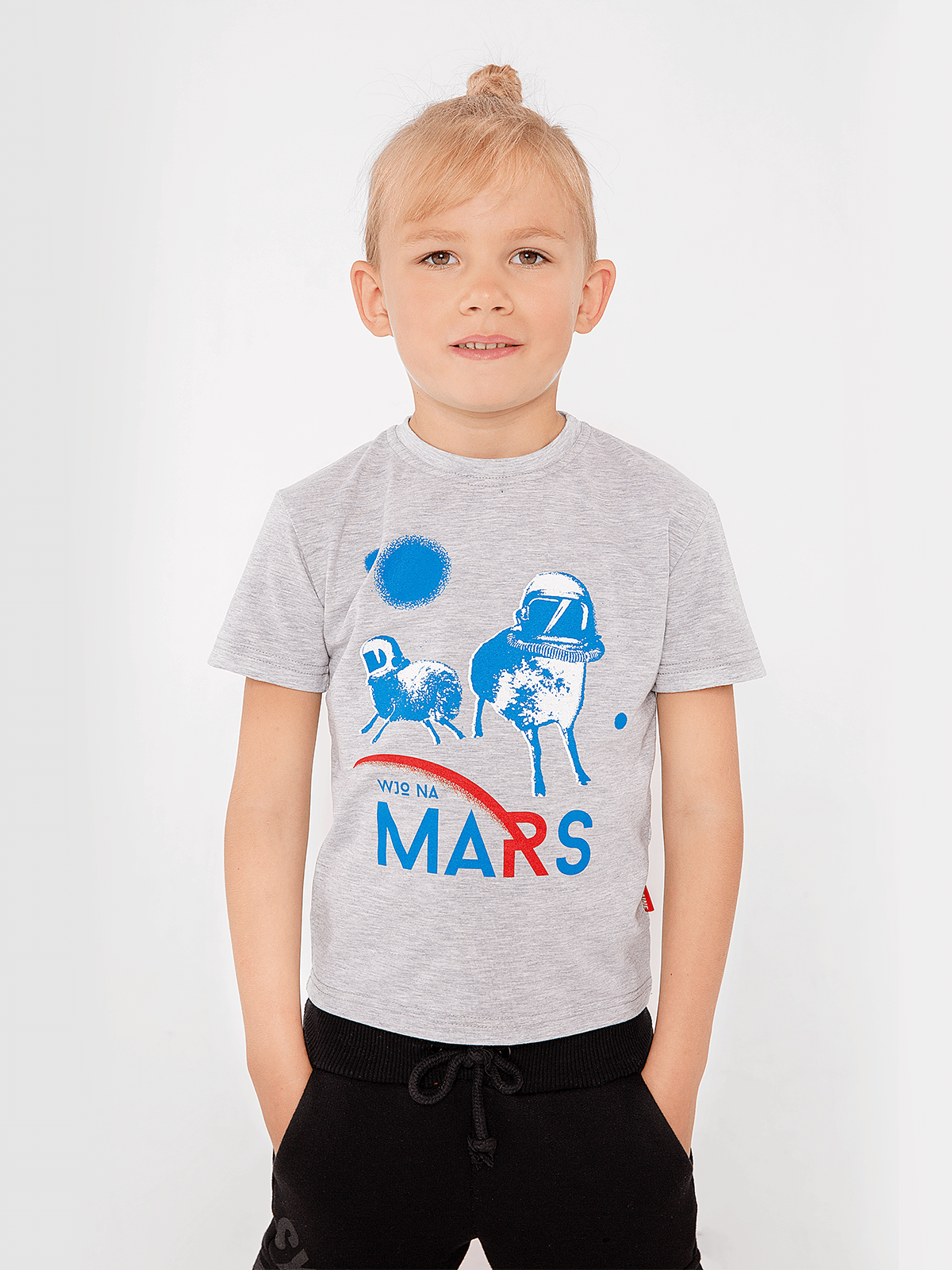 Kids T-Shirt Wjo Na Mars. Color gray. Material: 95% cotton, 5% spandex.