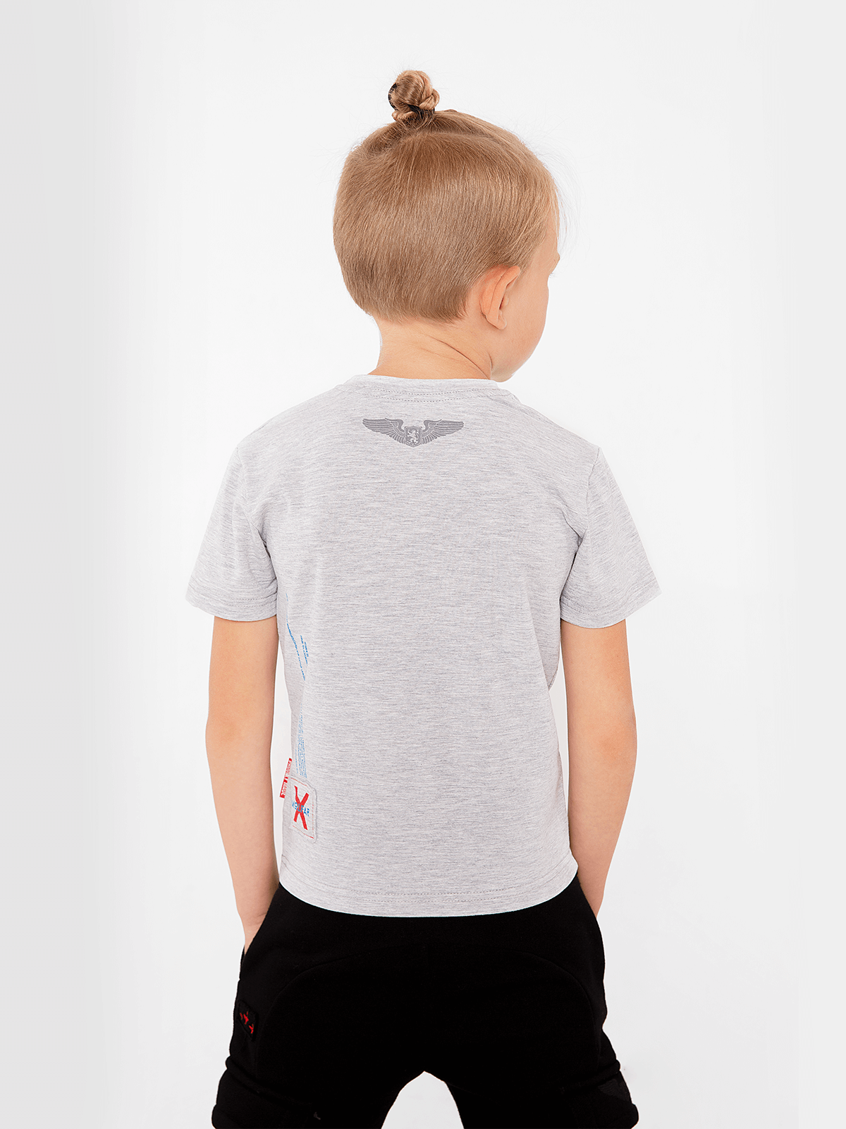 Kids T-Shirt Wjo Na Mars. Color gray.  Technique of prints applied: silkscreen printing  The color shades on your screen may differ from the original color.