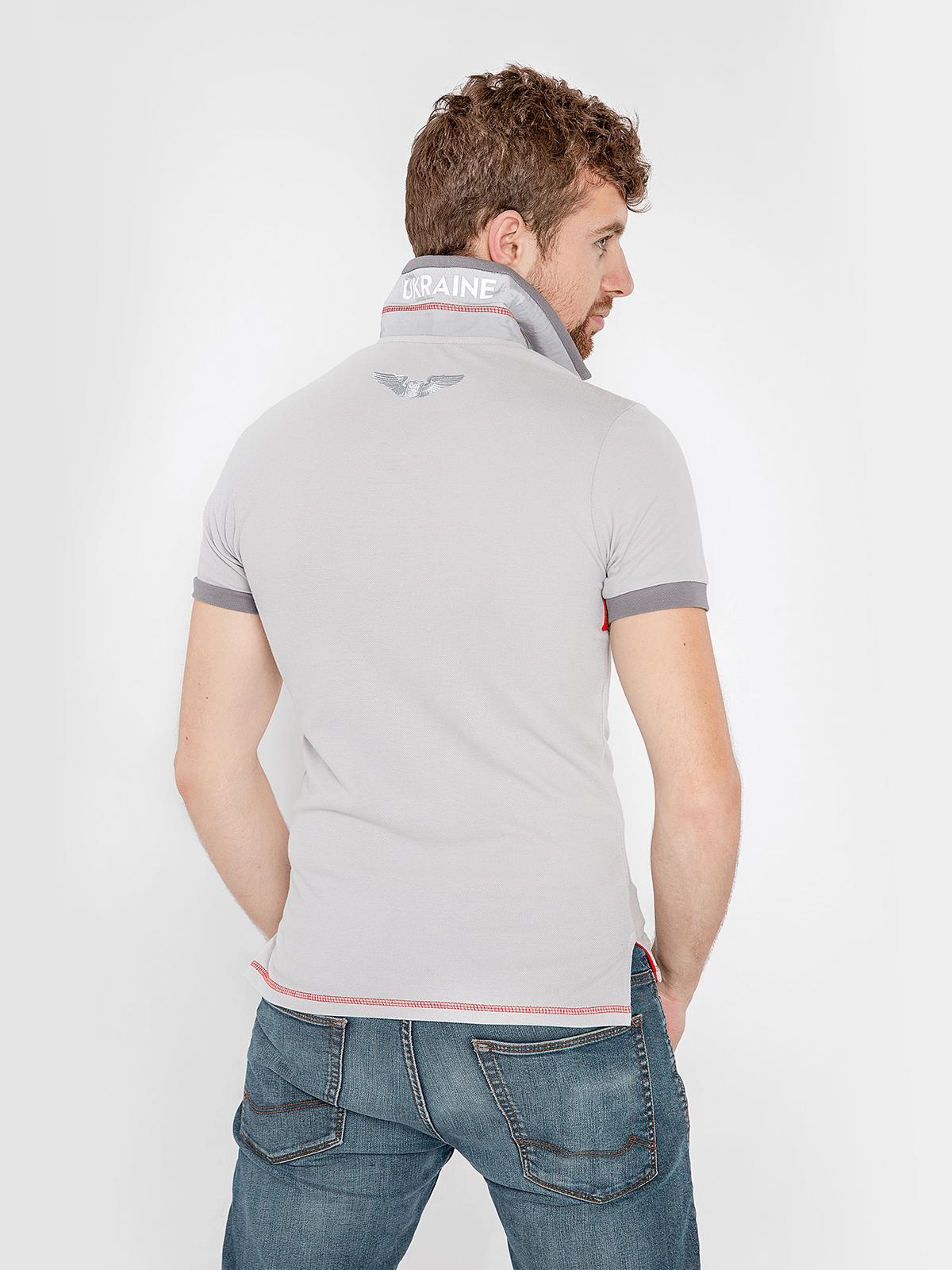 Men's Polo Shirt Wings. Color світло-сірий.  Pique fabric: 100% cotton.