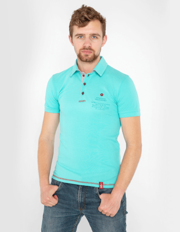 Men's Polo Shirt Wings. Color mint.  Technique of prints applied: embroidery, silkscreen printing.