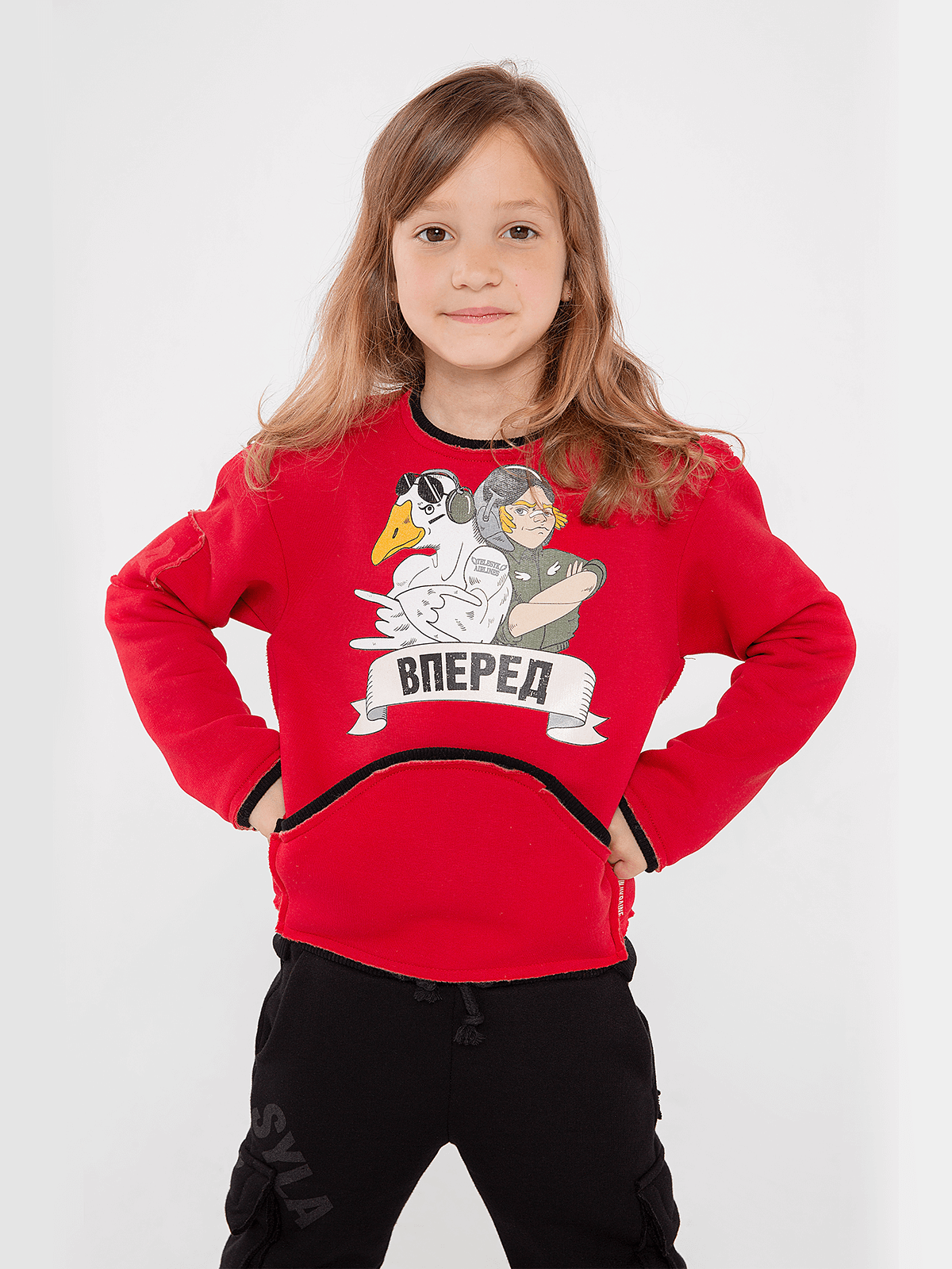 Kids Sweatshirt Forward. Color red. Sweatshirt: unisex, well suited for both boys and girls.