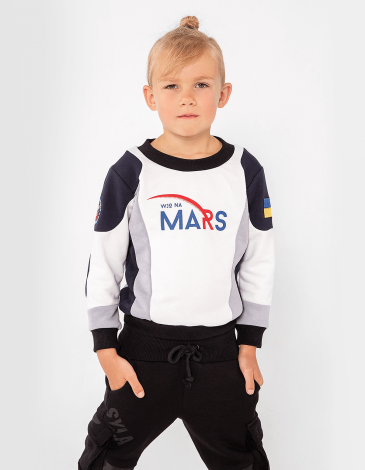 Kids Sweatshirt Molfar-X. Color white. Material: 77% cotton, 23% polyester.