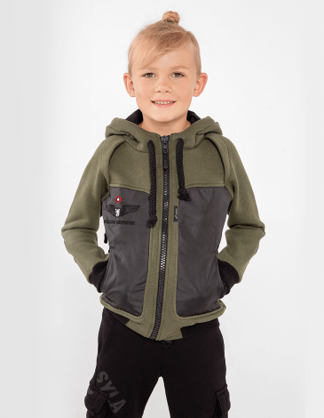 Kids Hoodie Syla. Color khaki.  Well suited for both boys and girls.