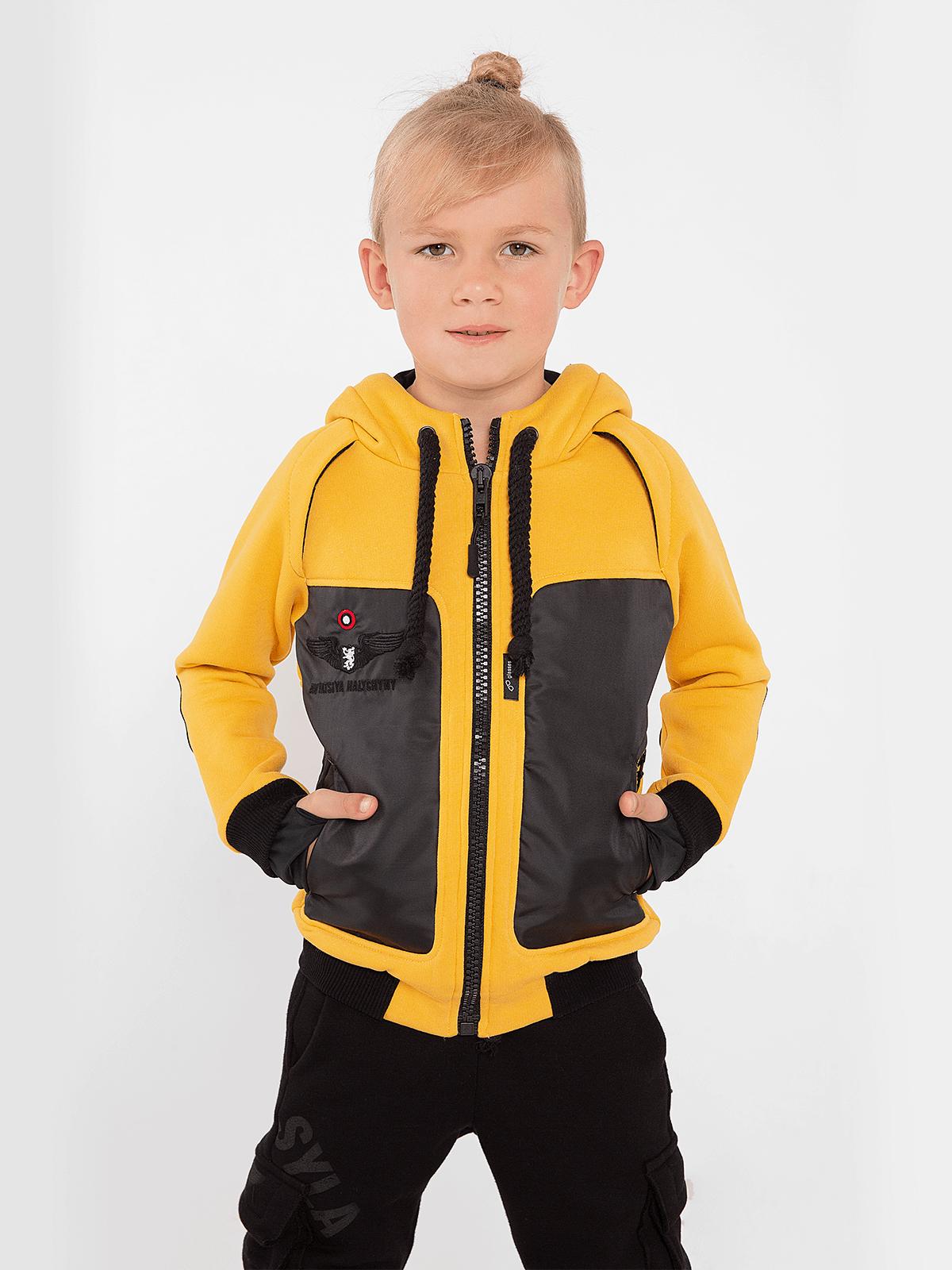 Kids Hoodie Syla. Color yellow. Unisex hoodie.