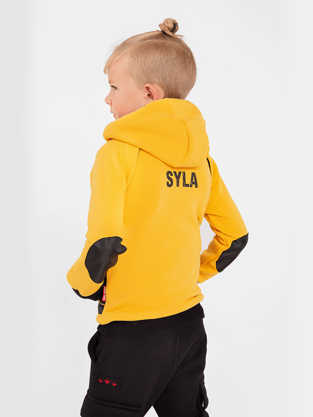 Kids Hoodie Syla. Color yellow.  Well suited for both boys and girls.
