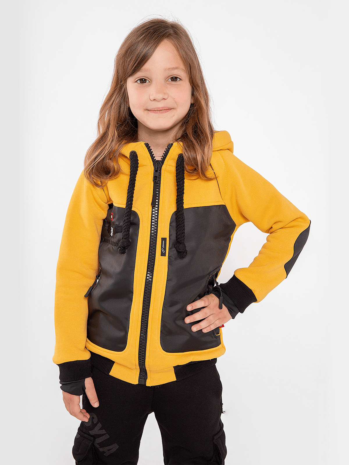 Kids Hoodie Syla. Color yellow.  Material of the hoodie – three-cord thread fabric: 77% cotton, 23% polyester.