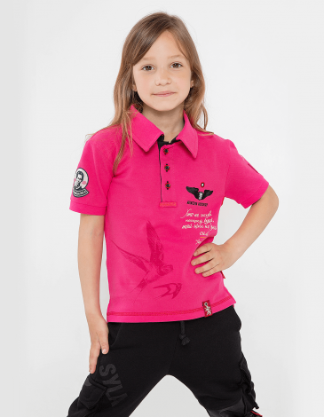 Kids Polo Shirt Lesia Ukrainka. Color pink. Polo: unisex, well suited for both boys and girls.