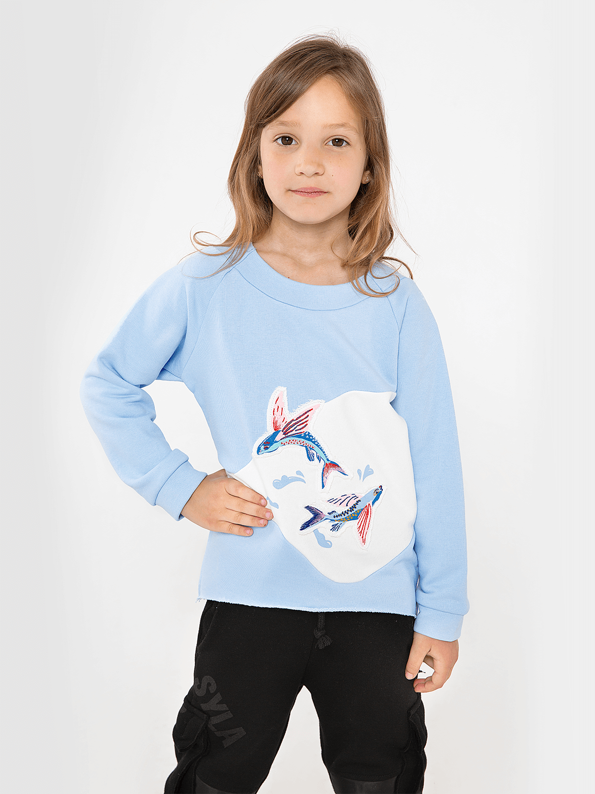 Kids Sweatshirt Flying Fishes. Color sky blue. Sweatshirt: unisex, well suited for both boys and girls.