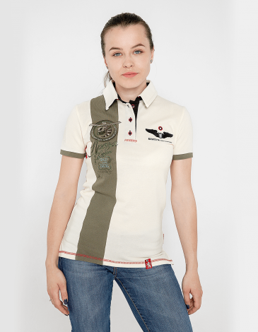 Women's Polo Shirt 16 Brigade. Color ivory. Pique fabric: 100% cotton.