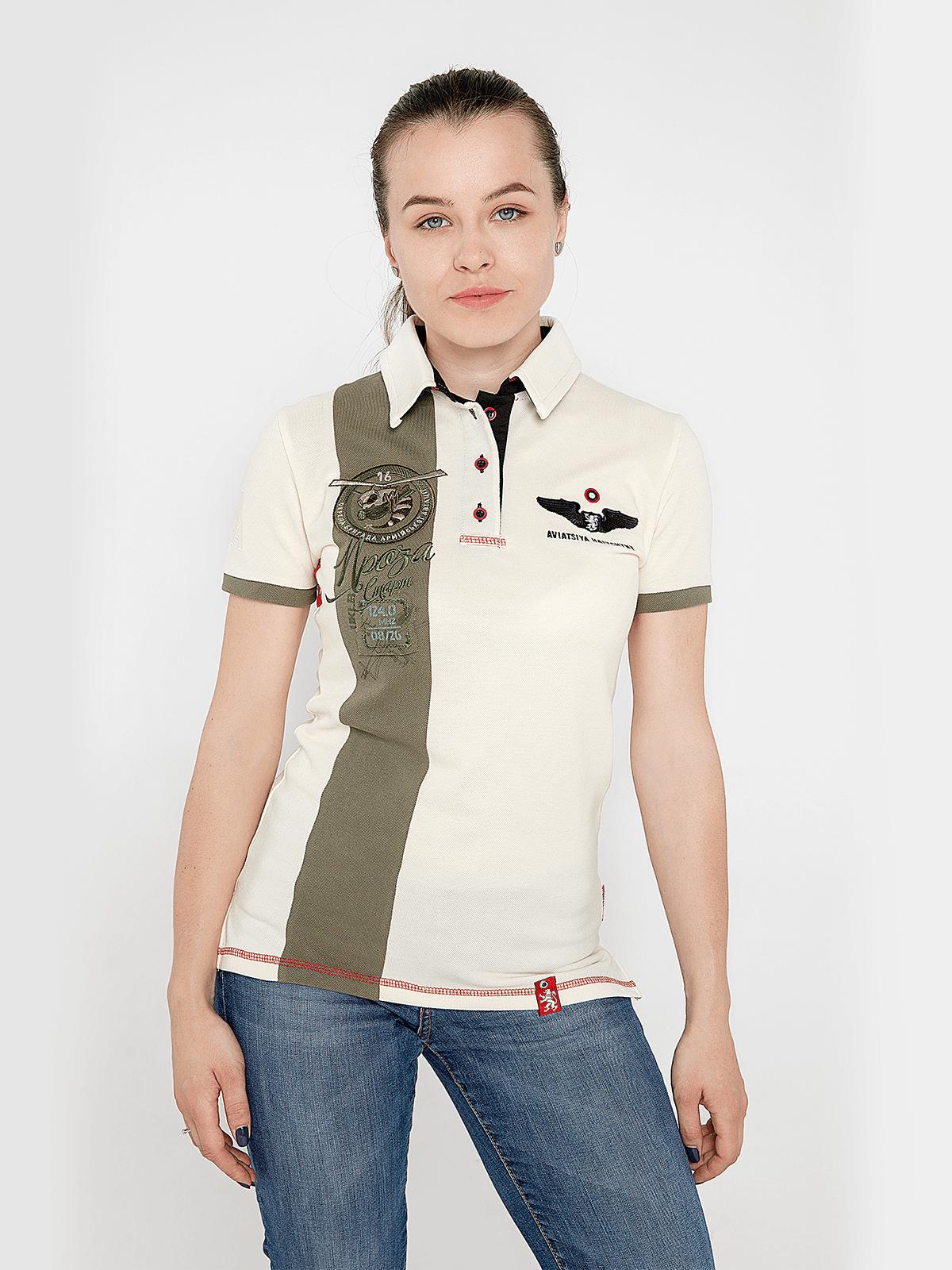 Women's Polo Shirt 16 Brigade. Color ivory. Pique fabric: 100% cotton.