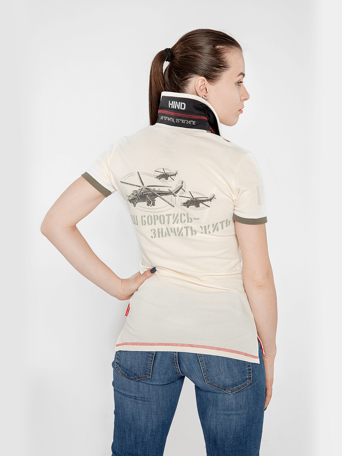 Women's Polo Shirt 16 Brigade. Color ivory.  Technique of prints applied: embroidery, silkscreen printing.