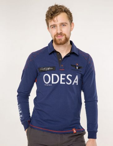 Men's Polo Long Air Race Odesa. Color navy blue. Material: 75% cotton, 21% polyester, 4% spandex.