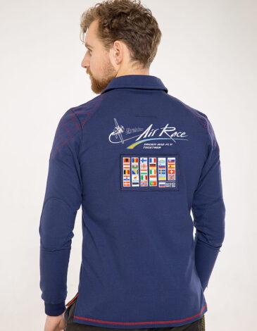 Men's Polo Long Air Race Odesa. Color navy blue. Material: 75% cotton, 21% polyester, 4% spandex.