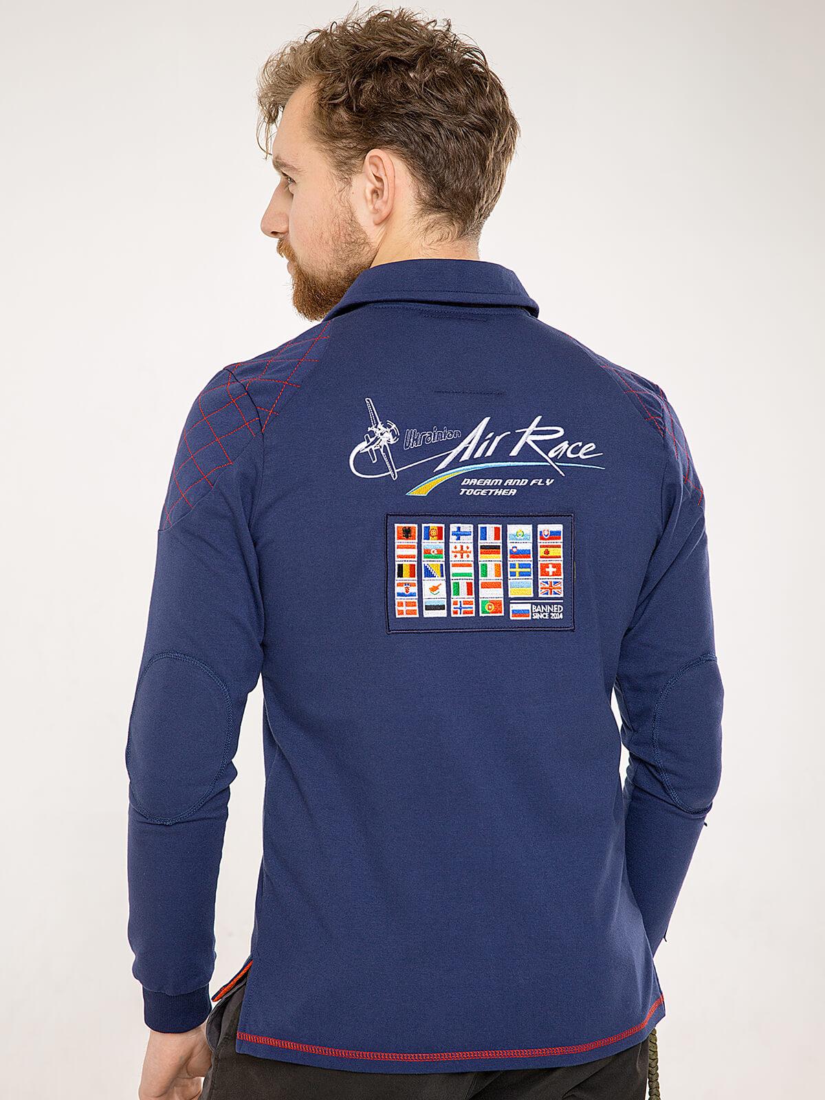 Чоловіче Поло-Лонґ Air Race Odesa. Колір синій.  Матеріал: 75% бавовна, 21% поліефір, 4% спандекс.