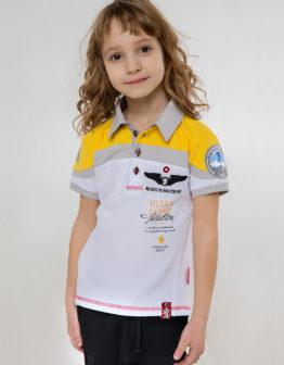 Kids Polo Shirt Borzhava. Color white. 100% БАВОВНА.