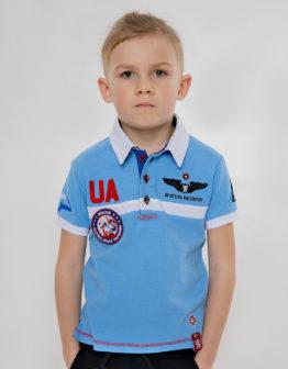 Kids Polo Shirt Molfar. Color sky blue. 100% БАВОВНА.