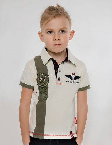 Kids Polo Shirt 16 Brigade. Color ivory. Pique fabric: 100% cotton.