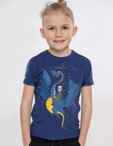 Дитяча Футболка Дракон. Колір синій. Футболка: унісекс, добре пасує і хлопчикам, і дівчаткам  Матеріал: 95% бавовна, 5% спандекс.
